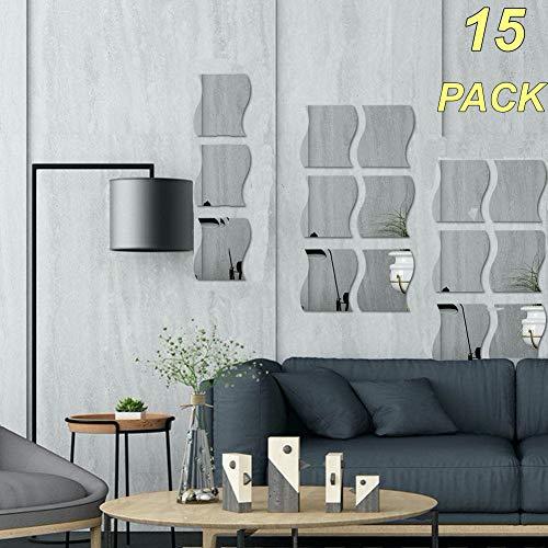 15 pegatinas de pared con espejo ondulado, espejo, decoración de pared para el hogar, decoración de espejo acrílico para el hogar, sala de estar, recámara, sofá, TV, decoración de pared (plata)