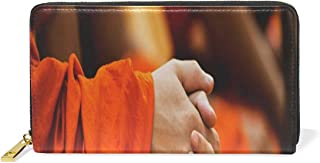 Wallet Hands Monk Buddhist Themes Leather Clutch Purse Long Wallet Handbag Card Holder