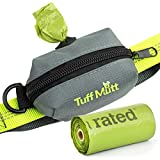 Tuff Mutt Poop Bag Holder Attaches to Dog Leash, Includes 1 Roll of Earth Rated Poop Bags, Waste Bag Dispenser and Lightweight Fabric. Makes a Great Walking, Running or Hiking Accessory