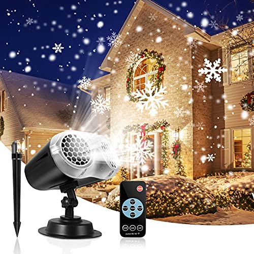 Christmas Lights Projector Outdoor, Waterproof Double Christmas Snowflake Projector Light with Remote Control, Wall Mountable LED Projector Light for Home Landscape Christmas Decorations