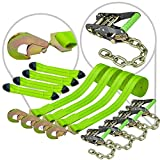 VULCAN 8-Point Vehicle Tie Down Kit with Snap Hook On Strap Ends and Chain Tail On Ratchet Ends, Set of 4 - Reflective High-Viz