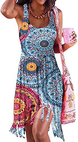 Hount Women Summer Swimsuit Coverups with Tassle Bikini Swimwear Sundress (Floral 01, Large)