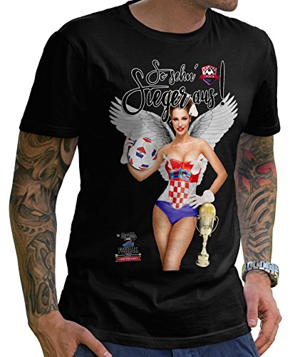 Stylotex Herren T-Shirt Basic So sehn Sieger aus Girl Croatia Hrvatska Kroatien, Größe:XXXL, Farbe:schwarz