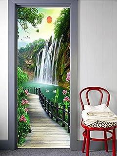 BIRD'S MIND Bathroom Door Printing Sticker Waterproof 3D Waterfall Garden Scenery ( 70 x 24 Finishing Size)