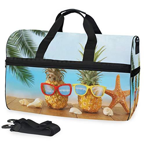 Oarencol Ananas-Sonnenbrille, Holz, Blaues Meer, Reisetasche, Wochenendtasche, mit Schuhfach für Herren und Damen