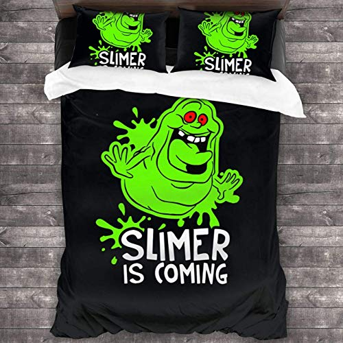 Slimer The Real Ghostbusters Bed Set Duvet Cover and Pillow Case 3 Piece Bedding Set 86'X70'