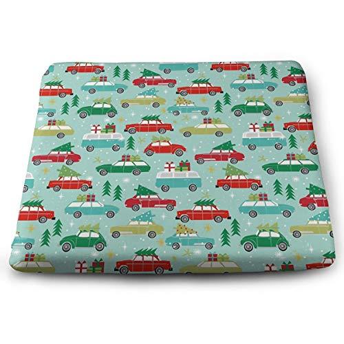 Weihnachten Auto Tradition Weihnachtsbäume Urlaub Muster Solid Quadrat Kissen Sitzkissen Tatami Bodenkissen für Yoga Meditation Wohnzimmer Balkon Büro Outdoor 38,1 x 34,8 cm