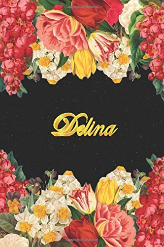 Delina: Lined Notebook / Journal with Personalized Name, & Monogram initial D on the Back Cover, Floral cover, Gift for Girls & Women