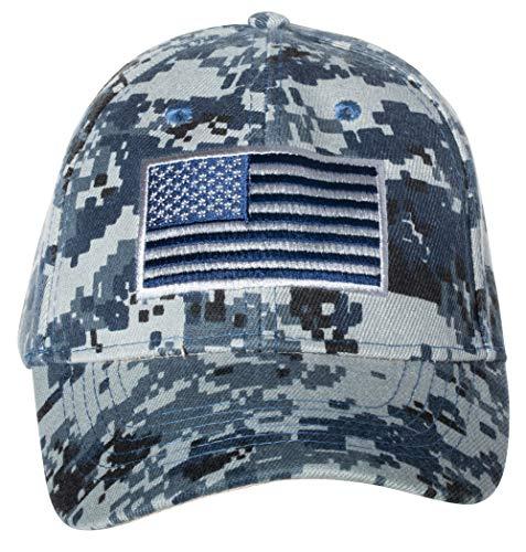 United States Flag Digital Camo Embroidered Baseball Cap (Navy Blue)