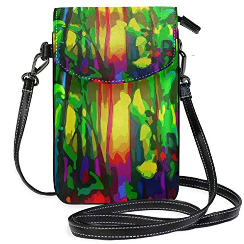 XCNGG Abstract Vibrant Colour Botany Cell Phone Purse Wallet for Women Girl Small Crossbody Purse Bags