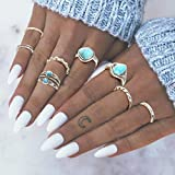 Simsly Vintage Kunckle Ring Stackable Silver Joint Nail Ring Turquoise Knuckle Rings Set for Women and Girls8PCS