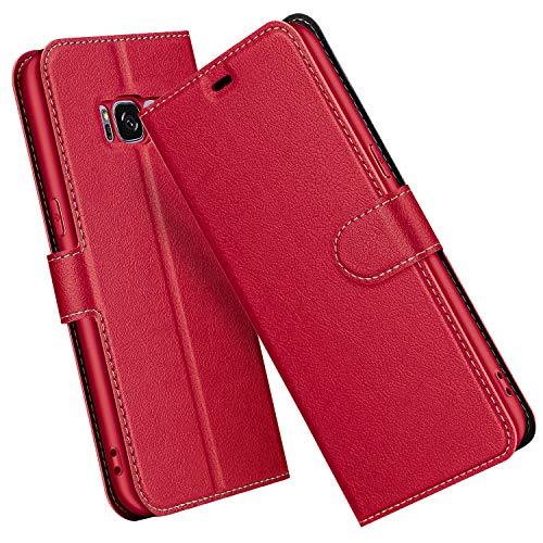 ELESNOW Cover per Samsung Galaxy S8, Flip Custodia in Pelle PU Premium per Samsung Galaxy S8 (Rosso)