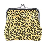 Monedero de piel con estampado de leopardo, bolso de mano