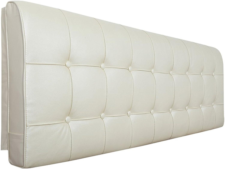 HAIPENG Coussin De Chevet Lit Dossier Tête De Oreiller Doux Couverture Appui-tête Cuir Lombaire Pads Tapissé Canapé Double, Crémeux-Blanc, Multi-Tailles (Taille   with headboard-160x10x58cm)
