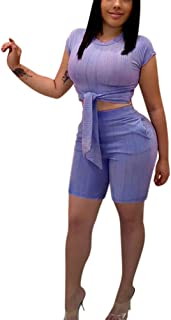 Matching Set Womens Clothing - Sexy Summer Glitter Corp Vest Top Short Pants Suit Club Outfit