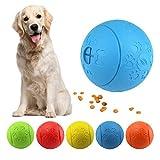 MEKEET Hundespielzeug-Ball, Leckerli-Spielzeug-Ball, aus Gummi, ungiftig, bissfest, Spielzeug-Ball für Haustier-Hunde, IQ-Trainingsball (Blue)