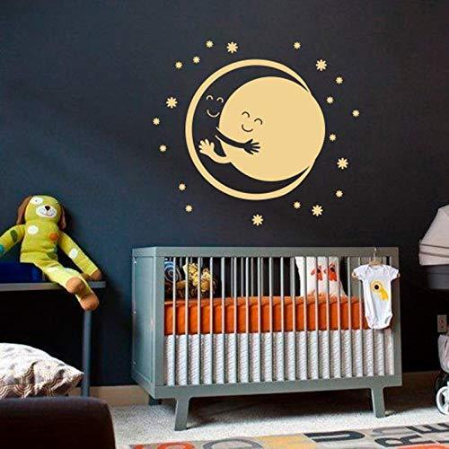 woyaofal Adesivo murale Vinile Adesivo Luna Sole Abbraccio Stelle Sogni d' Oro Buona Notte Natura Murales Camera dei Bambini Decorazioni per la casa Cameretta per Bambini 42X47 CM