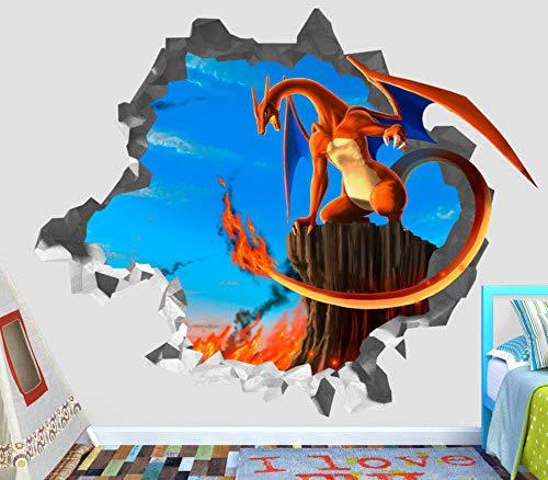 TRB muur StickersPokémon vuurspuwende draak 3d muur sticker art smash sticker decoratief vinyl dier