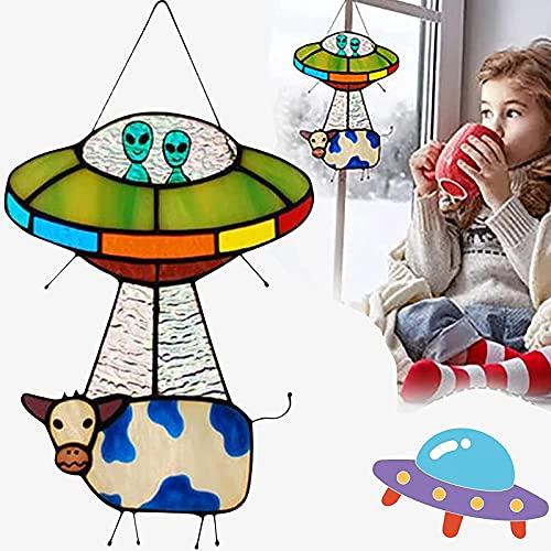 Children's Day Gift-Alien and Cow Stained Suncatcher Window Panel, Painted UFO Pendant, UFO Cow ?Abduction Pendant Suncatcher Decoration