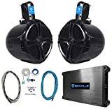 (2) Rockville RWB80B 8' Black 600w Marine Wakeboard Tower Speakers+Amplifier+Kit