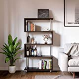 Bestier 5 Shelf Geometric Bookcase S-Shaped, Hollow-Core Board Modern Ladder Bookshelf with Metal Frame, Z Shaped Industrial Etagere Mid Century Bookcase for Home Office Living Room Decor, Brown
