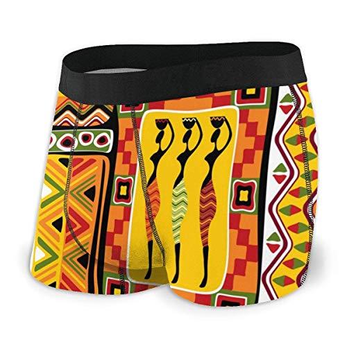 Drempad Boxer Aderenti da Uomo, Men's Boxer Brief African Art Woman with Pot Historic Elements Orange Protection Boxershorts Slip Boxer Pantaloncini