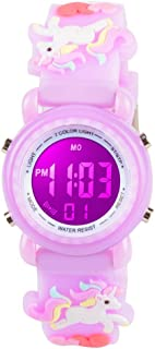 Venhoo Kids Watches 3D Cartoon Waterproof 7 Color Lights Toddler Wrist Digital Watch with Alarm Stopwatch for 3-10 Year Boys Girls Little Child