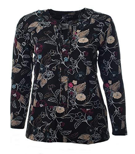 No Secret Damen Langarm Tunika Bluse Schwarz große Größen mit Blumen und V-Ausschnitt, Größe:56