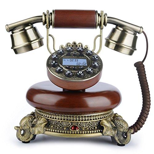 BNEST Cool Skeleton Skull Shape Novelty Wired Telephone with Led Eyes Corded Phone Landline Phone for Halloween Decorations