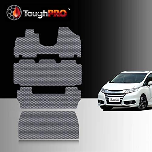TOUGHPRO Floor Mat Accessories 1st + 2nd + 3rd Row + Cargo Mat Accessories Compatible with Honda Odyssey (8-Seater) - All Weather - Heavy Duty - Gray Rubber - 2011, 2012, 2013, 2014, 2015, 2016, 2017