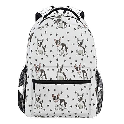 Oarencol Cute French Bulldog Paw Puppy Backpack Bookbag Daypack Travel School College Bag for Womens Mens Girls Boys