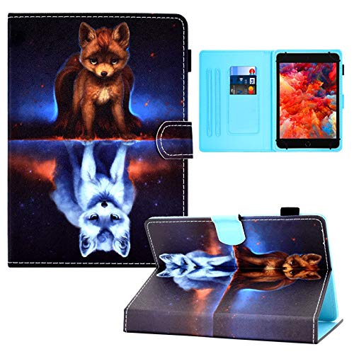 Universal 7.0' Tablet Case, PU Leather Case Card Slots Folio Multi-Angle Stand Cover for Samsung Galaxy Tab E 7.0/ Tab A 7.0/ Fire 7.0 2015 2017/ Lenovo/RCA/Fire 7.0 and More 7.0 inch Tablet -Fox2