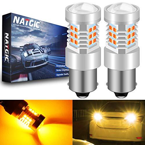 NATGIC 1156 BA15S 7056 1141 Ampoules LED Ambre 21 - EX 2835 SMD Jeu de puces avec lentille de projecteur pour inverseur de Queue de Clignotant de Frein, 10-16V 10,5W (Lot de 2)