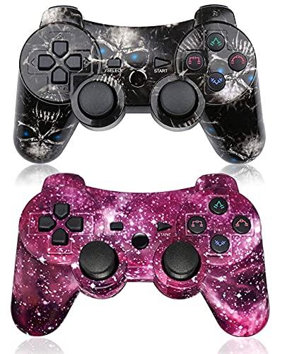 Controlador PS3 de 2 Unidades inalámbrico SIXAXIS Dual Shock Gaming Controller para Sony Playstation 3 con Cable de Carga