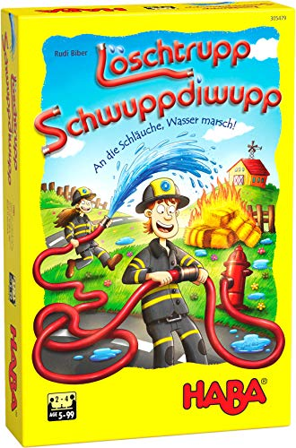 HABA 305479 - Löschtrupp Schwuppdiwupp, Legespiel für Kinder ab 5 Jahren zum Lieblingsthema Feuerwehr für 2 – 4 Spieler, Spieldauer 15 Minuten, Geschenkidee zum Mitbringen für Feuerwehrfans