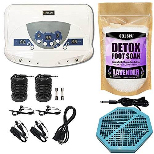 Cell Spa, Dual Ionic Ion Detox Aqua Foot Spa Chi Cleanse Machine with Mp3 Music Player With Twice Powerful CS-900 Array (LAVENDER)