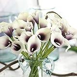 EasyLife 13.4 '' Flor Artificial Calla Lily, 20 Piezas por Juego, decoración para decoración de Bodas, Cocina, Oficina, cafetería, decoración del hogar (Blanco)