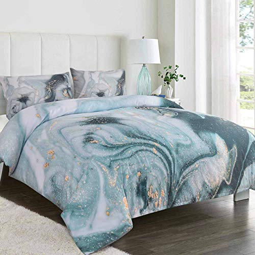 NANKO Queen Duvet Cover Set, Teal Blue Grey Gray Marble Tie Dye Watercolor Pastel Print Pattern 3pc 90 x 90 Luxury Soft Microfiber Bedding Cover with Zip Modern for Women Teen Girl Galaxy Art Gold