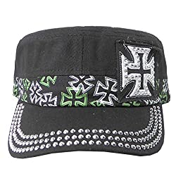 Military Cadet Cap Hat - Patch Cotton - Studded & Embroidered