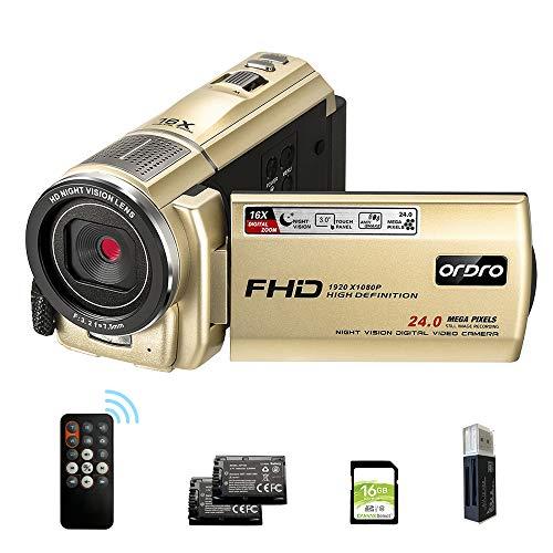 Video Camera Camcorder FHD 1080P IR Night Vision, ORDRO HDV-F7 Vlog Cameras with 16GB SD Card Digital YouTube Vlogging Camera Video Recorder, 16X Digital Zoom 2 Batteries