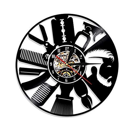 LKJHGU Herramientas de peluquería Reloj de Pared Reloj de Pared de Peluquero Reloj de salón de peluquería Diseño de Interiores Disco de Vinilo Reloj de Pared Idea de Regalo Inconformista