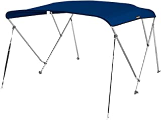 MSC 3 Bow Bimini Top Boat Cover with Rear Support Pole and Storage Boot, Color Gray,Pacific Blue,Burgundy,Navy,Beige,Forest Green,White,Black,Teal Available