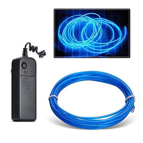Aogbithy Flexibel Wasserdicht EL Wire EL Kabel Neon Beleuchtung leuchtschnur mit 3 Modis für Partybeleuchtung,Weihnachtsfeiern und Halloween Kostüm Rave Dekoration (Blau, 3M)