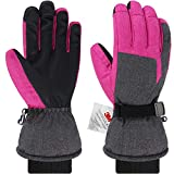 Andake Ski Handschuhe, 3M Thinsulate Touchscreen Warm Wasserdicht Winddicht Thermal Damen Winterhandschuhe für Skifahren, Reiten, Snowboarden,Trekking, Outdoor Wintersport (Grau&Pink, S)