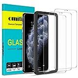 omitium Protector Pantalla para iPhone 11 Pro MAX, 3 Piezas Cristal Templado iPhone XS MAX [Marco de Instalación Fáci] Dureza 9H Anti-Arañazos Vidrio Templado Premium iPhone 11 Pro MAX - 6,5 Pulgadas