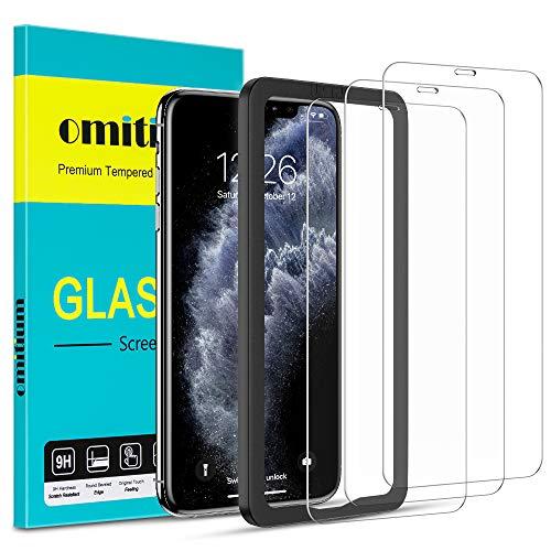 omitium Protector Pantalla para iPhone 11 Pro MAX, 3 Piezas Cristal Templado iPhone XS MAX [Marco de Instalación Fáci] Dureza 9H Anti-Arañazos Vidrio Templado Premium iPhone 11 Pro MAX - 6,5 P
