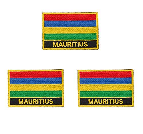 3 Stück Mauritius-Flaggen-Aufnäher, bestickt, zum Aufbügeln oder Aufnähen.