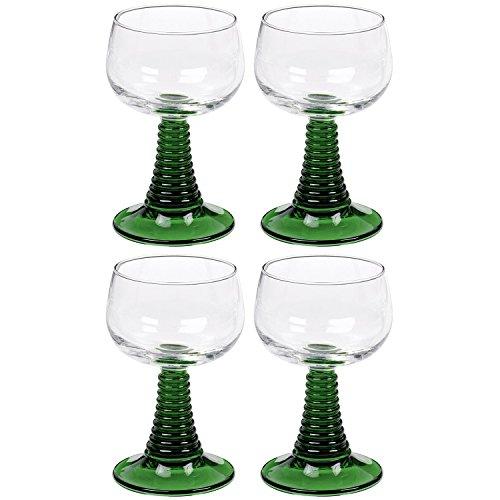 Arcoroc 01382 Weinrömer Römerglas mit grünem Fuß, 250ml, Stück:4 Stück