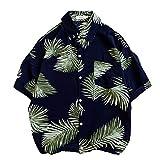 NOBRAND - Camisa para hombre con cama plana y estampado de flores Negro Negro ( 4XL