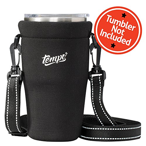 Tumbler Carrier Holder Pouch for 30oz Tumblers - Holder for Travel Insulated Coffee Mugs, Neoprene Protective Sleeve Tumbler Holder and 30oz Tumbler Handle, Adjustable Strap, Shoulder Sling - Black